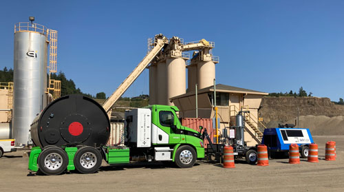 The GoFlo® and GoFill™ station refueling a Hyliion truck at Baker Rock, OR