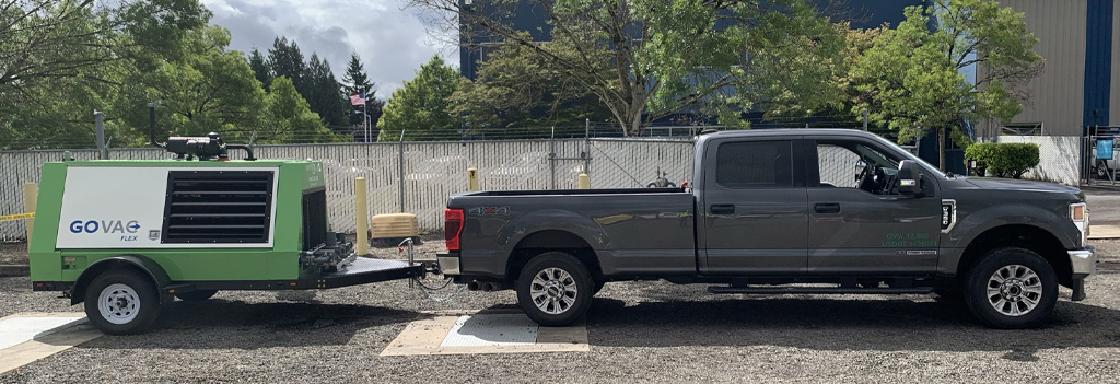 The GoVAC Flex easily pulls behind a standard pickup